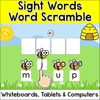 Sight Words Word Scramble Spelling Game for Whiteboards an