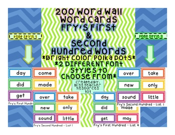 Sight Words Word Wall Cards - Fry's First 200 Sight Words