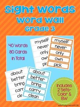 Sight Words Word Wall (Grade 3)