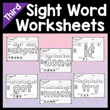 Third Grade Practice Pages for Sight words {41 Words!}