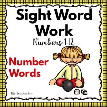 Kindergarten- Special Education  -Sight Words -Numbers Set