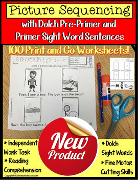 Sight Words Worksheets Sentences with Picture Sequencing a