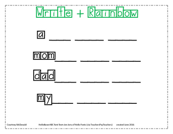 Sight Words: Write + Rainbow