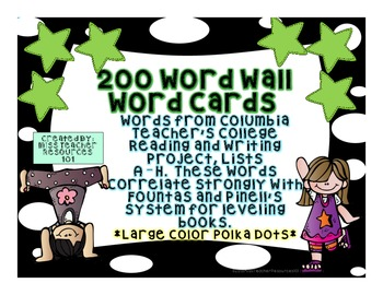 Sight Words Word Wall Cards - Teacher's College Lists A -