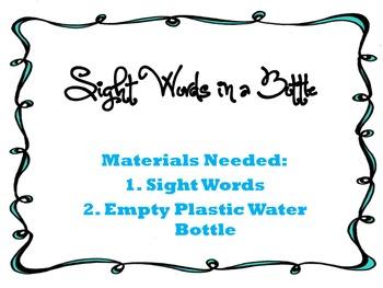 Sight Words in a Bottle