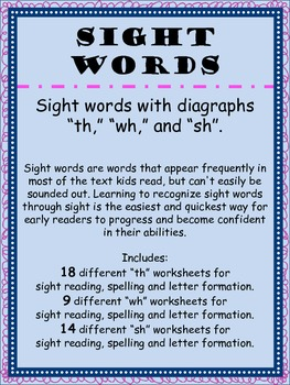 Sight Words with Diagraphs TH, WH, SH