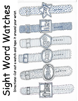 Sight word / Dolch word watches for Kindergarten