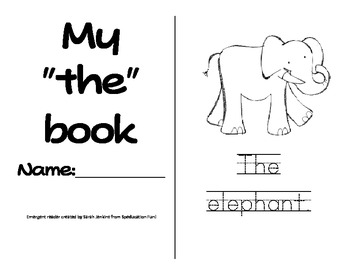 """Sight Word Emergent Reader with Activities- """"the"""""""