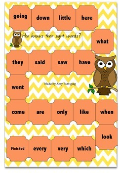 Sight word buzz board game
