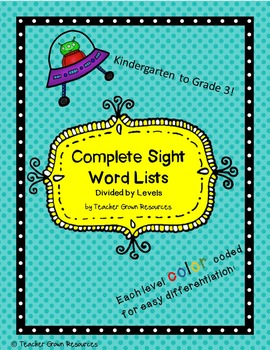 Sight word lists and activities