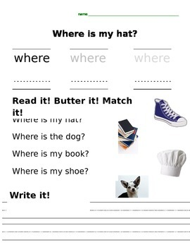 """Sight word practice """"Where"""""""