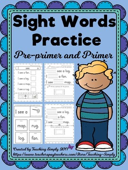 Sight words - Pre Primer and Primer - Practice Activity Sh