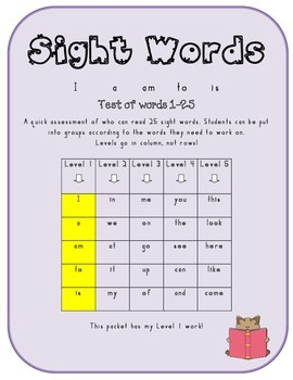 Sight Words:  Assessment, Games and Activities (Level 1)