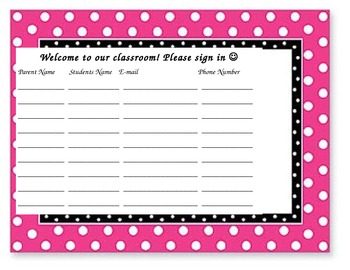 Sign In Sheet for Parents for Back to School/Meet the Teac