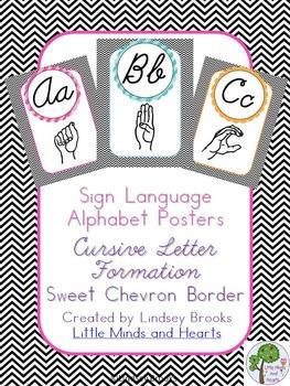 Sign Language (ASL) Cursive Alphabet Posters in Sweet Chevron