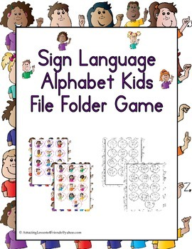 Sign Language Alphabet Kids File Folder Game