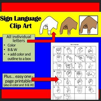 (SALE!) Sign Language Alphabet Clip Art Plus