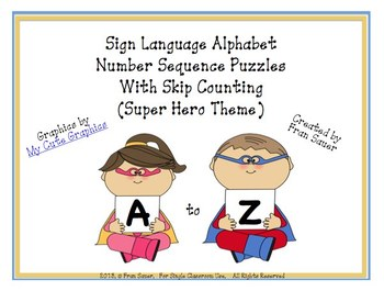 Sign Language Alphabet Skip Counting Sequencing Puzzles