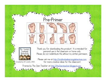 Sign Language Sight Words: Pre-Primer {FREE}