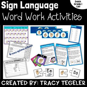 Sign Language Word Work Activities