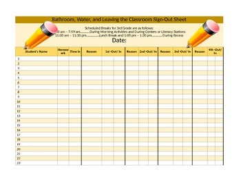 Sign Out (Multiple Times) Sheet (4 options)