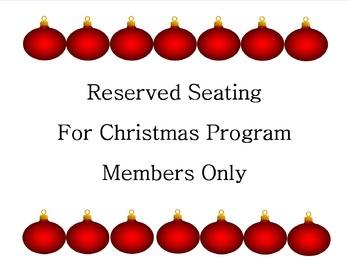 Sign~ Reserved Seating~ Christmas Program {Ornament Design}