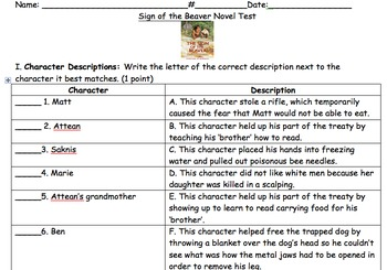 Sign of the Beaver End of the Book Test and Answer Key