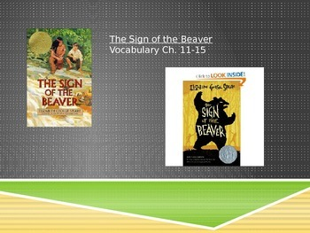 Sign of the Beaver Vocabulary PowerPoint Chapters 11-15