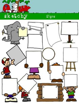 Signs Banner Blank Clipart Graphics 300dpi Color BW Black Lined