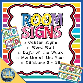 Signs for the Room with Word Wall Numbers Days Months and More