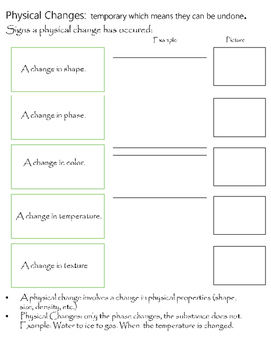 Physical Change Organizer + Chemical Change Organizer