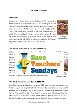 Sikh Gurus Lesson plan, Text and Worksheets (2 lessons)