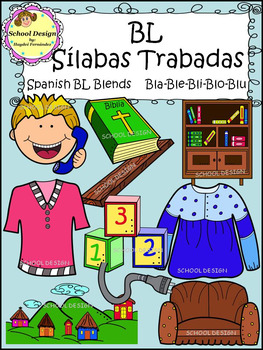 Sílabas Trabadas BL Spanish - BL Blends Clip Art (School Design)