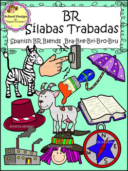 Sílabas Trabadas BR Spanish - BR Blends Clip Art (School Design)
