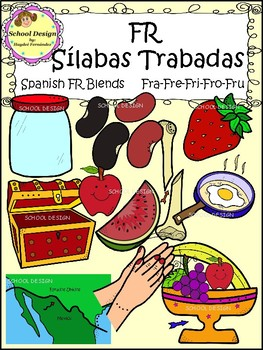 Sílabas Trabadas FR Spanish - FR Blends Clip Art (School Design)