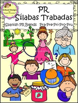 Sílabas Trabadas PR Spanish - PR Blends Clip Art (School Design)