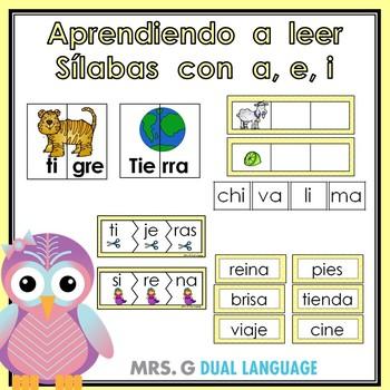 Aprendiendo a leer sílabas y palabras con a, e, i