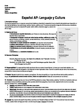 Sílabo de la clase de Español AP / AP Spanish Syllabus in Spanish