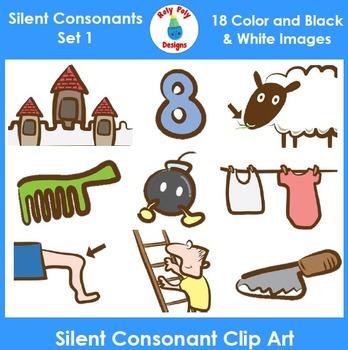 Silent Consonants Phonics Clip Art Set 1