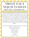 Silent Hand Signal Posters for the Classroom (Green & Oran
