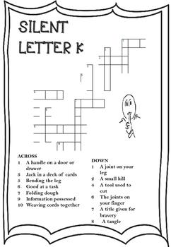 Silent Letter K Crossword Worksheet