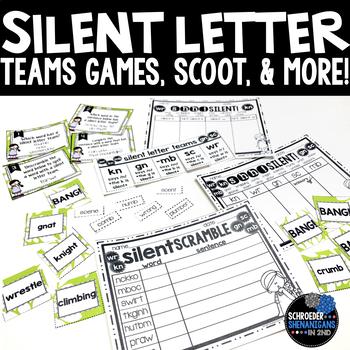 Silent Letter Teams anchor charts, bang, and printables