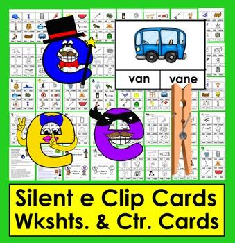 Silent e Clip Cards - 48 Cards & 8 Silent e Worksheets - C