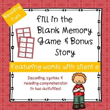 Silent e Fill-in-the-Blank Memory Game & Bonus Story