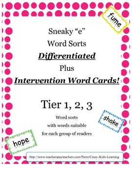 """Sneaky """"e"""" Word Sort - cut and paste ***Differentiated***F"""