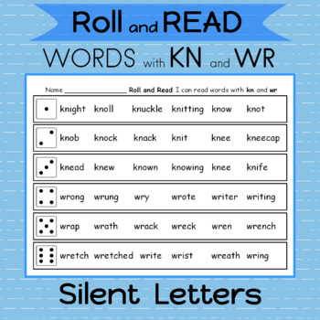 Word Work Silent letters kn and wr 2 Games   Roll the dice