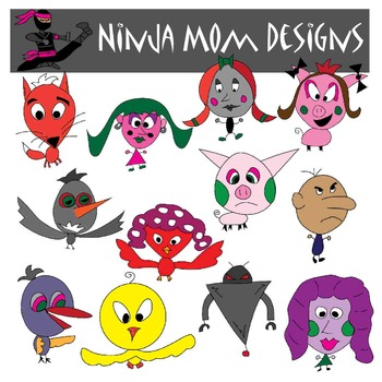 Silly Creatures Clip Art in Color and Black Line