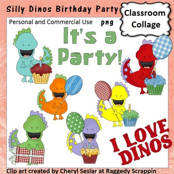 Silly Dinos Birthday Party Clip Art personal & commercial