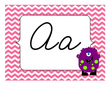 Silly Monster Alphabet Headers - Cursive