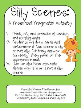 Silly Scenes: A Preschool Pragmatics/Social Skills Activity